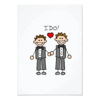 """I Do Two grooms 5"""" X 7"""" Invitation Card"""