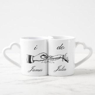 I Do Vintage Wedding Ring Mug Set