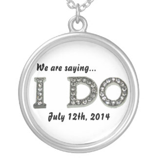 I Do Wedding Bling Save the Date Necklace Round Pendant Necklace