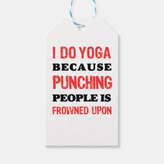 I Do Yoga Because Punching People Is Frowned Upon. Gift Tags