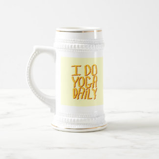 I Do Yoga Daily. Yellow. 18 Oz Beer Stein