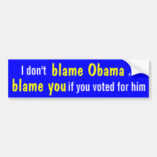 I don't blame Obama, but you if you voted for him! Bumper Sticker