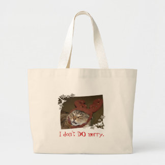 """I don't DO merry"" cat-with-antlers bag"