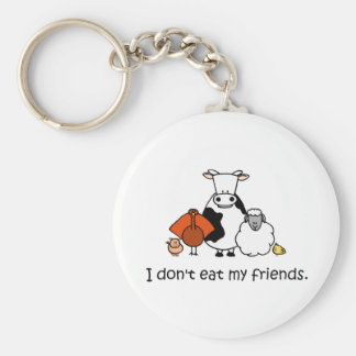 I dont eat my friends basic round button keychain