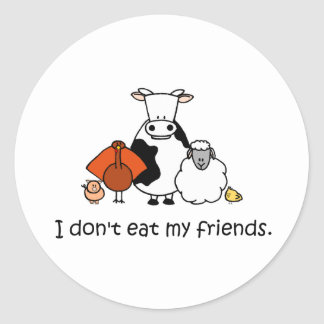 I dont eat my friends round sticker