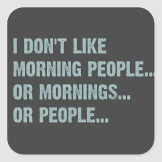 I don't like morning people, or mornings, or peopl square sticker