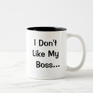 I Dont Like My Boss I Love My Boss Two-Tone Mug