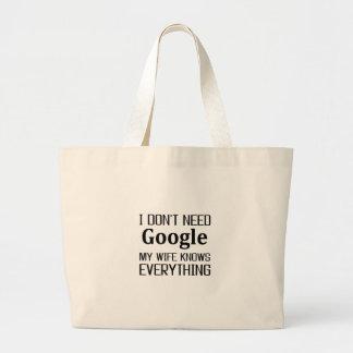 I Don't Need Google Large Tote Bag
