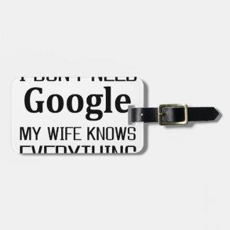 I Don't Need Google Luggage Tag