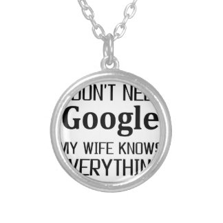I Don't Need Google Silver Plated Necklace