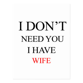 i don't need you i have wife postcard