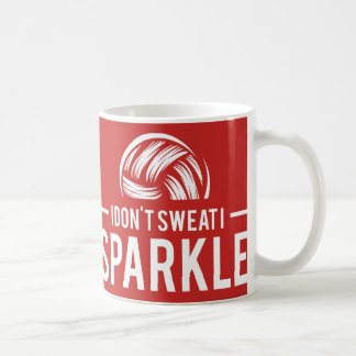I Don't Sweat I Sparkle - Red Volleyball Athlete Coffee Mug