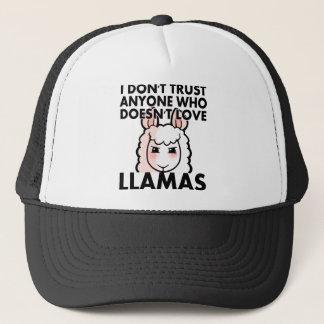 I Don't Trust Anyone Who Doesn't Love Llamas Trucker Hat
