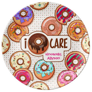 I Donut Care Cute Funny Humorous Sweet Donuts Love Plate