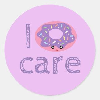 I donut care cute kawaii doughnut pun humor emoji classic round sticker