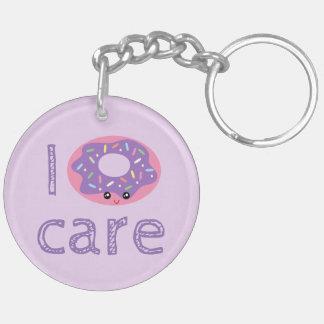 I donut care cute kawaii doughnut pun humor emoji Double-Sided round acrylic keychain