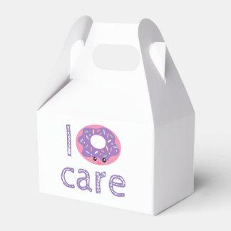 I donut care cute kawaii doughnut pun humor emoji party favor box
