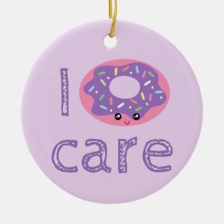 I donut care cute kawaii doughnut pun humor emoji round ceramic ornament