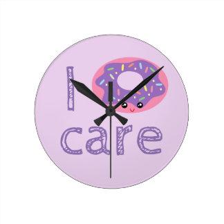 I donut care cute kawaii doughnut pun humor emoji round clock