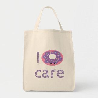 I donut care cute kawaii funny doughnut pun humor tote bag
