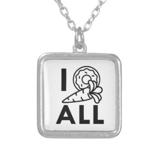 I Donut Carrot All Silver Plated Necklace