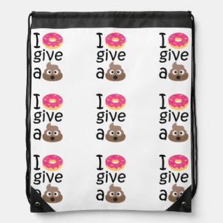 I donut give a poop emoji drawstring bag
