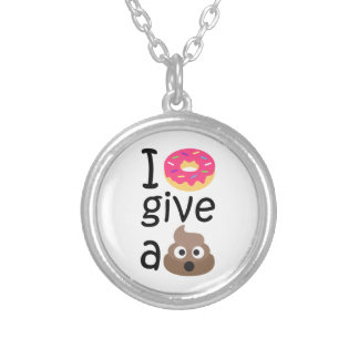 I donut give a poop emoji silver plated necklace