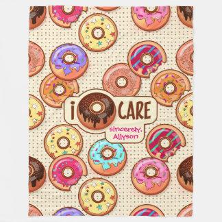 I Doughnut Care Cute Funny Donut Sweet Treats Love Fleece Blanket