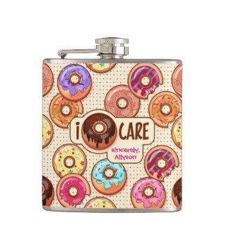 I Doughnut Care Cute Funny Donut Sweet Treats Love Hip Flask