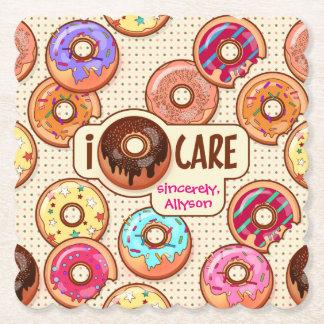 I Doughnut Care Cute Funny Donut Sweet Treats Love Paper Coaster