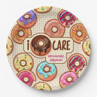 I Doughnut Care Cute Funny Donut Sweet Treats Love Paper Plate