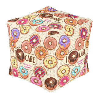 I Doughnut Care Cute Funny Donut Sweet Treats Love Pouf