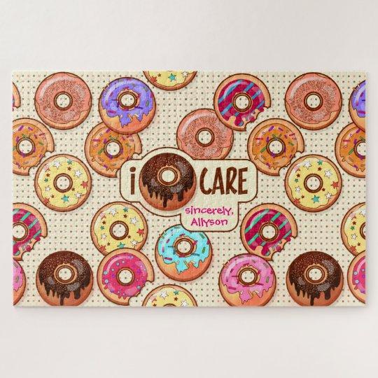 I Doughnut Care Cute Funny Doughnut Sweet Treats Jigsaw Puzzle
