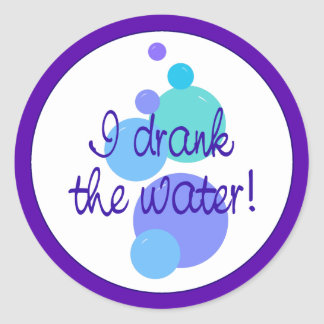 I Drank the Water Classic Round Sticker