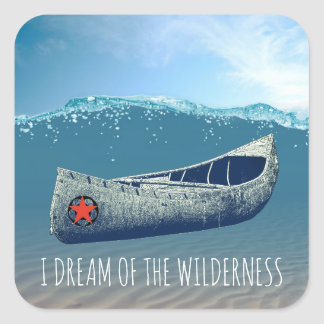 I Dream Of The Wilderness Canoe Adrift In Water Square Sticker