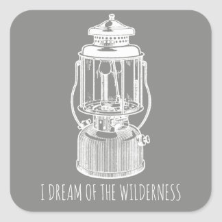 I Dream Of The Wilderness Vintage Camping Lantern Square Sticker