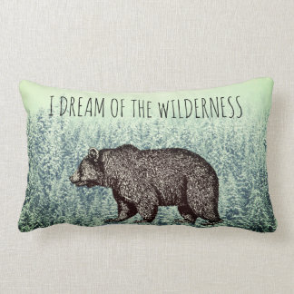 I Dream Of The Wilderness Walking Bear Snowy Trees Lumbar Pillow