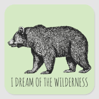 I Dream Of The Wilderness Walking Bear /stickers Square Sticker