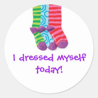 """I dressed Myself"" Classic Round Sticker"