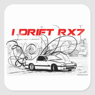 I Drift RX7 Square Stickers