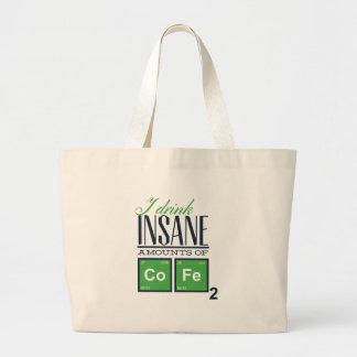 I drink insane amounts of code, geek design large tote bag