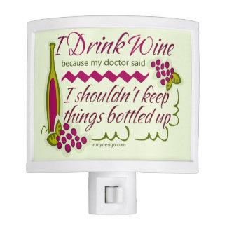I Drink Wine Funny Quote Nite Lite