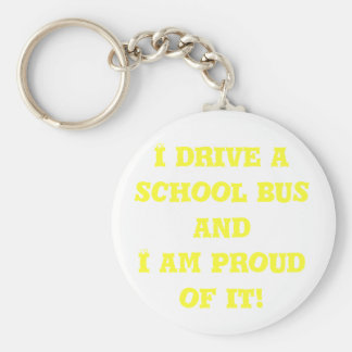 I drive a school bus basic round button keychain