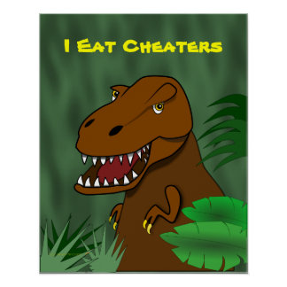 I Eat Cheaters T Rex Dinosaur School Classroom Poster