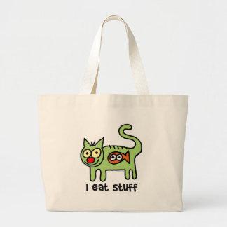 I eat stuff kitty! large tote bag