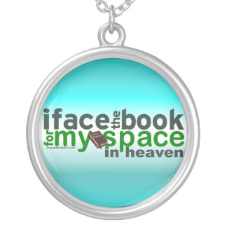 I Face the Book for Myspace Silver Plated Necklace