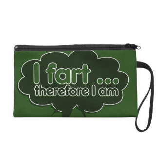 I fart therefore I am Wristlet Clutches