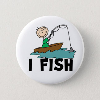 I Fish Stick Figure Button
