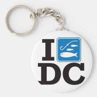 I Fish Washington DC Basic Round Button Keychain