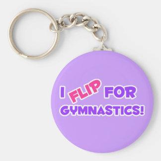 I Flip for Gymnastics! Basic Round Button Keychain